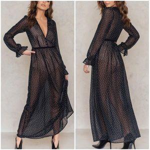 For Love & Lemons Black Truffles Maxi Dress